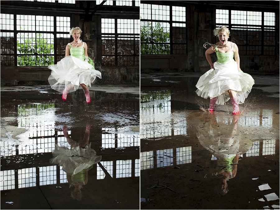Hochzeitsfotograf Fulda: Trash the Dress mit mehreren Bräuten im Schwimmbad (3)