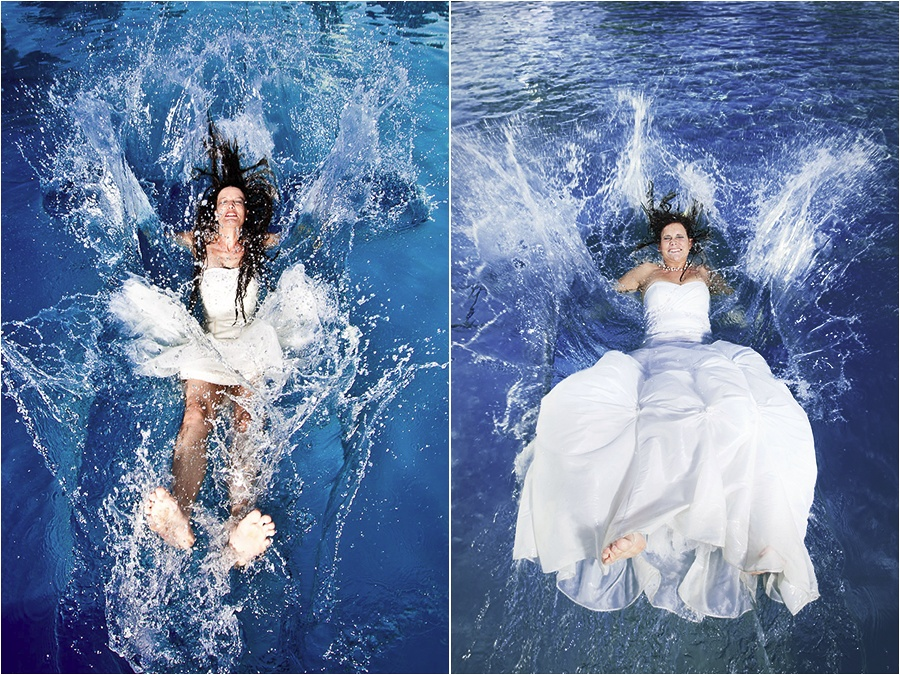 Hochzeitsfotograf Fulda: Trash the Dress mit mehreren Bräuten im Schwimmbad (11)