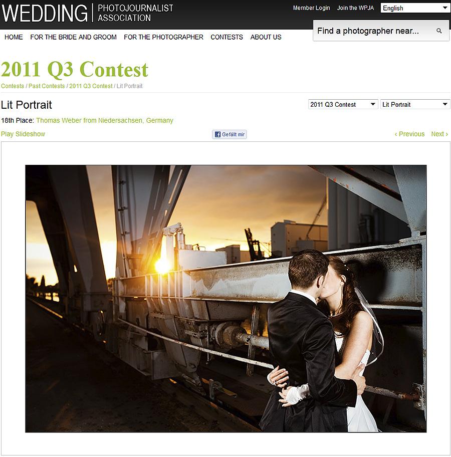 Hochzeitsfotograf Thomas Weber aus Oldenburg: Gute Platzierung im internationalen Portrait-Wettbewerb der WPJA
