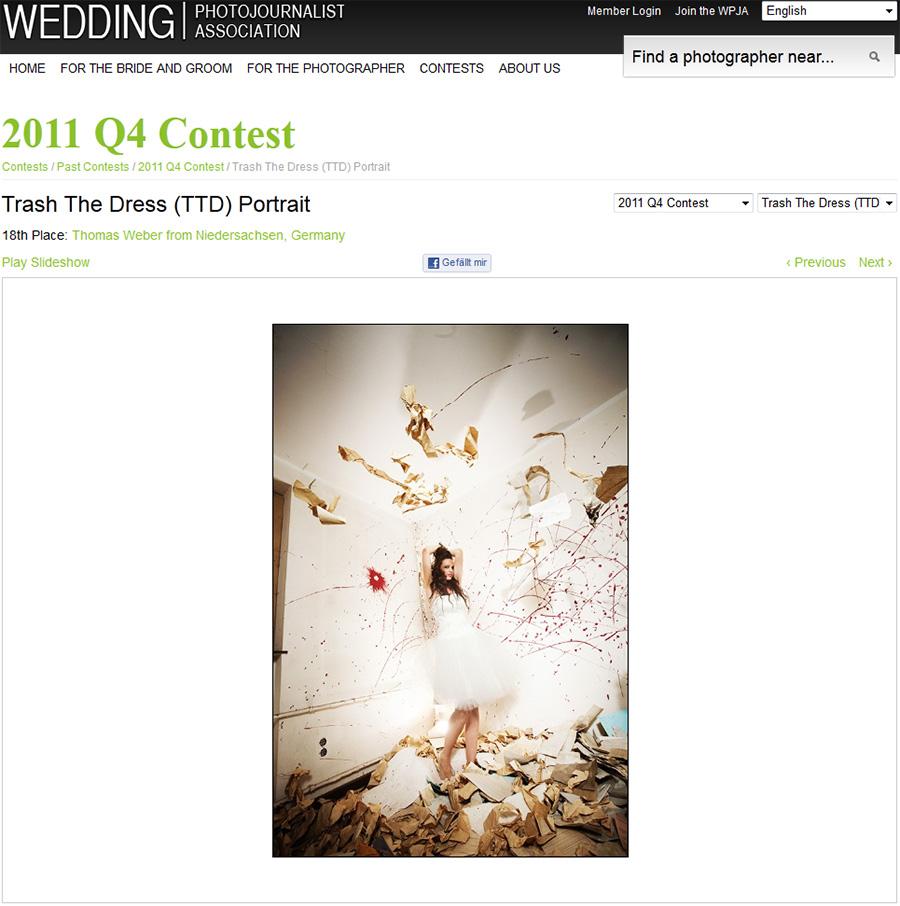 Trash-the-Dress-Gewinner-Foto beim Fotowettbewerb der WPJA