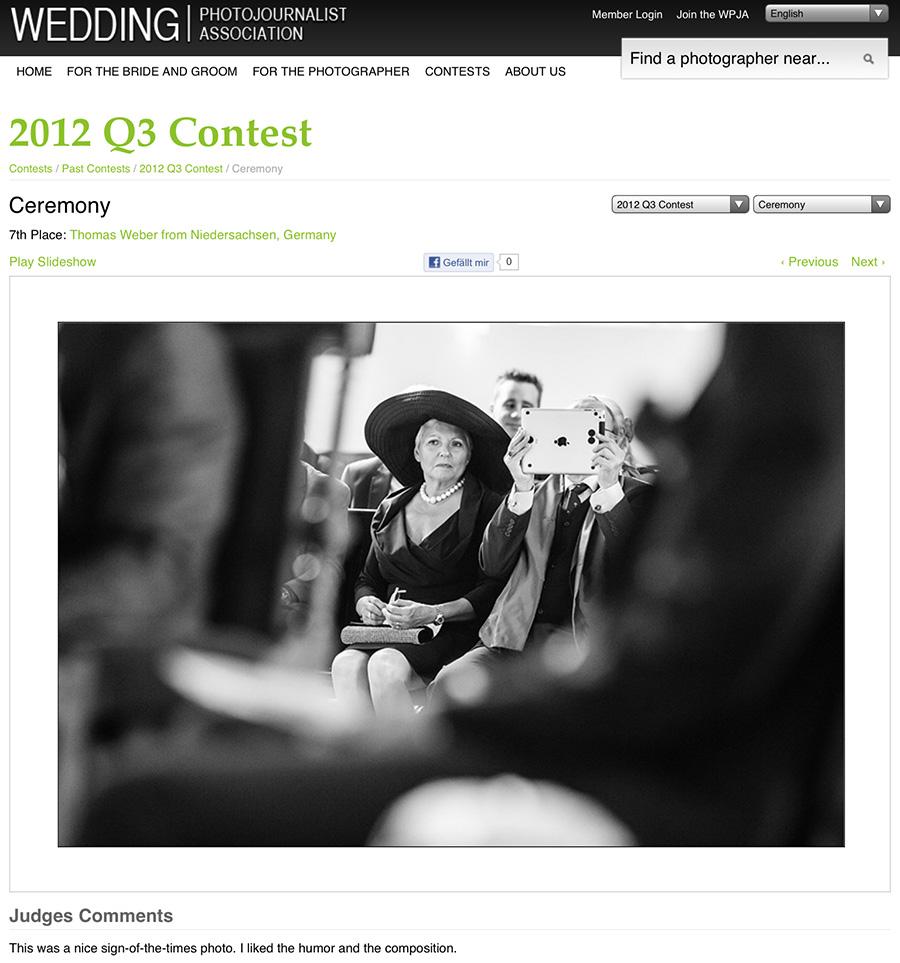Hochzeitsfotograf Oldenburg: Gute Platzierung bei den Fotowettbewerben der WPJA