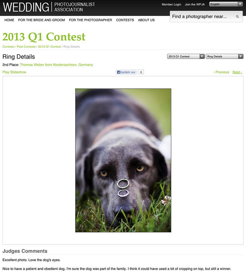 Platz 2 beim internationalen Fotowettbewerb der WPJA