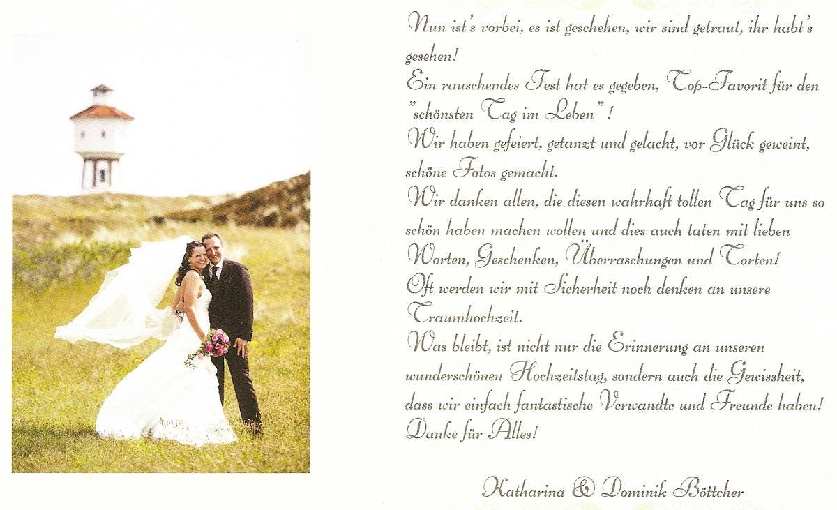 Danksagung von Katharina und Dominik