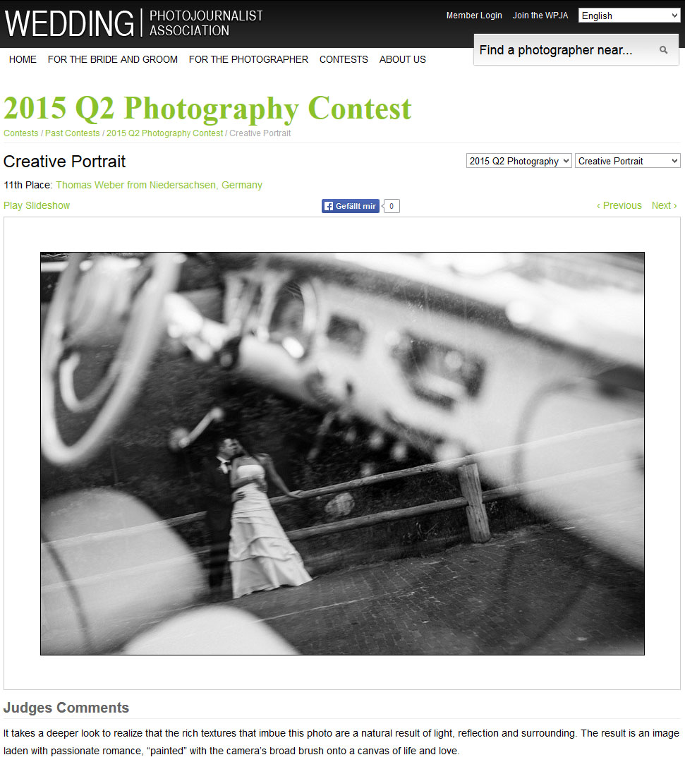 "Wedding Photojournalist Association (WPJA), Platz 11 beim internationalen Wettbewerb ""Creative Portrait"""