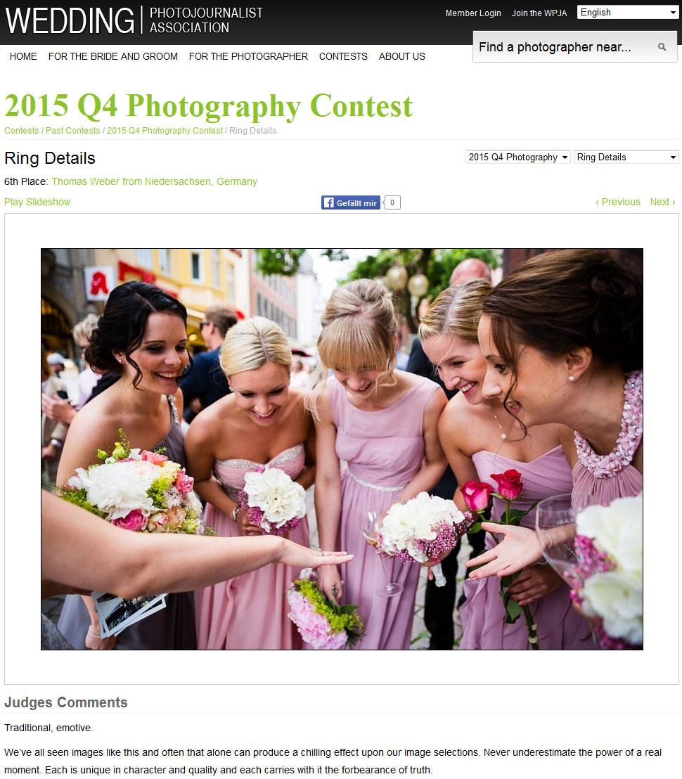 Hochzeitsfotograf Thomas Weber aus Oldenburg: Platz 6 beim internationalen Fotowettbewerb der WPJA