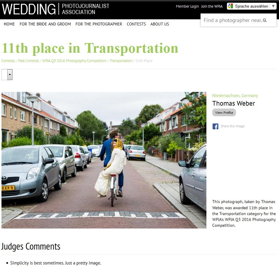 Gute Platzierung im internationalen Fotowettbewerb der Wedding Photojournalist Association (WPJA)