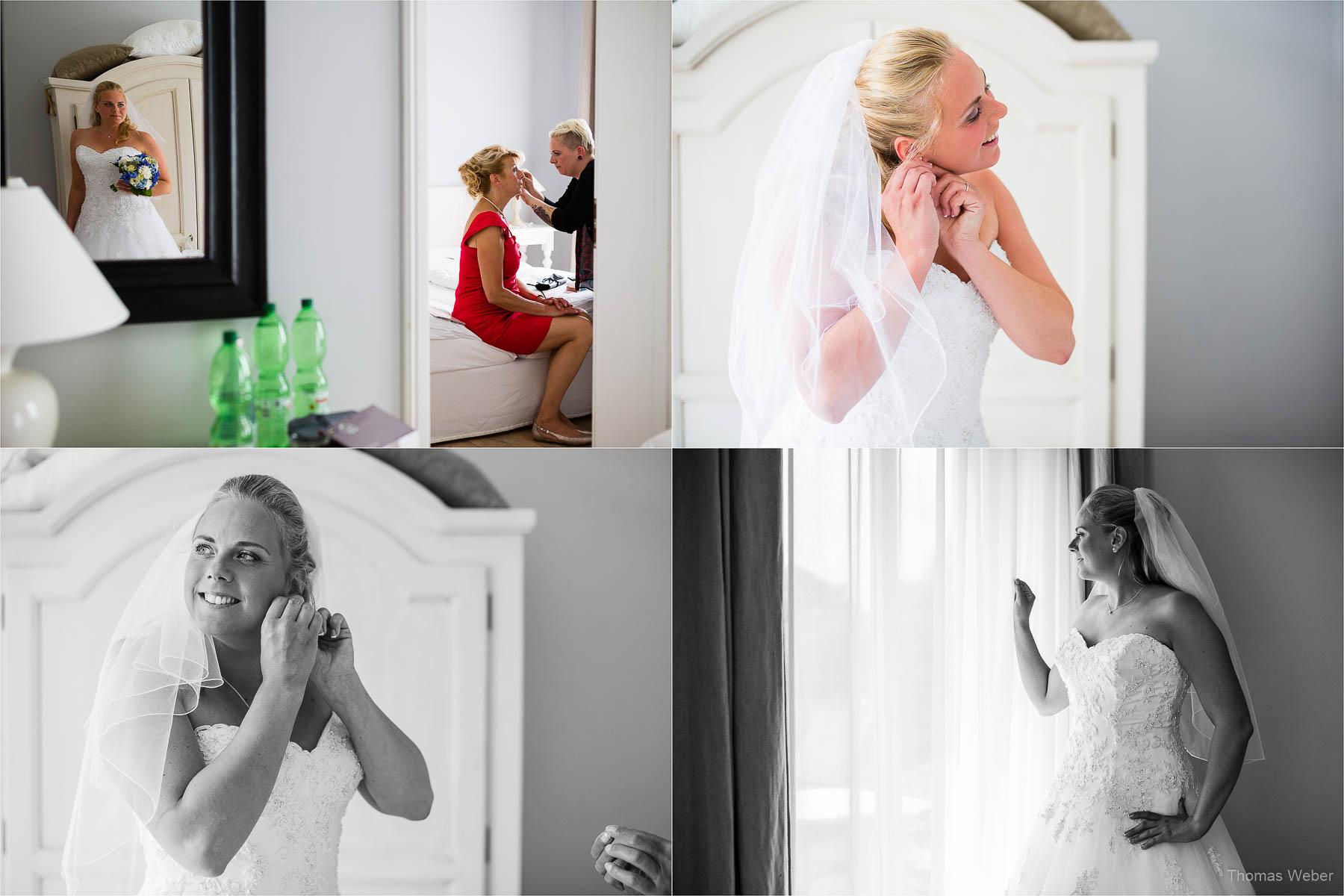 Hochzeitsfotograf bei einer Hochzeit auf Schloss Gamehl an der Ostsee: Die Ankleide der Braut