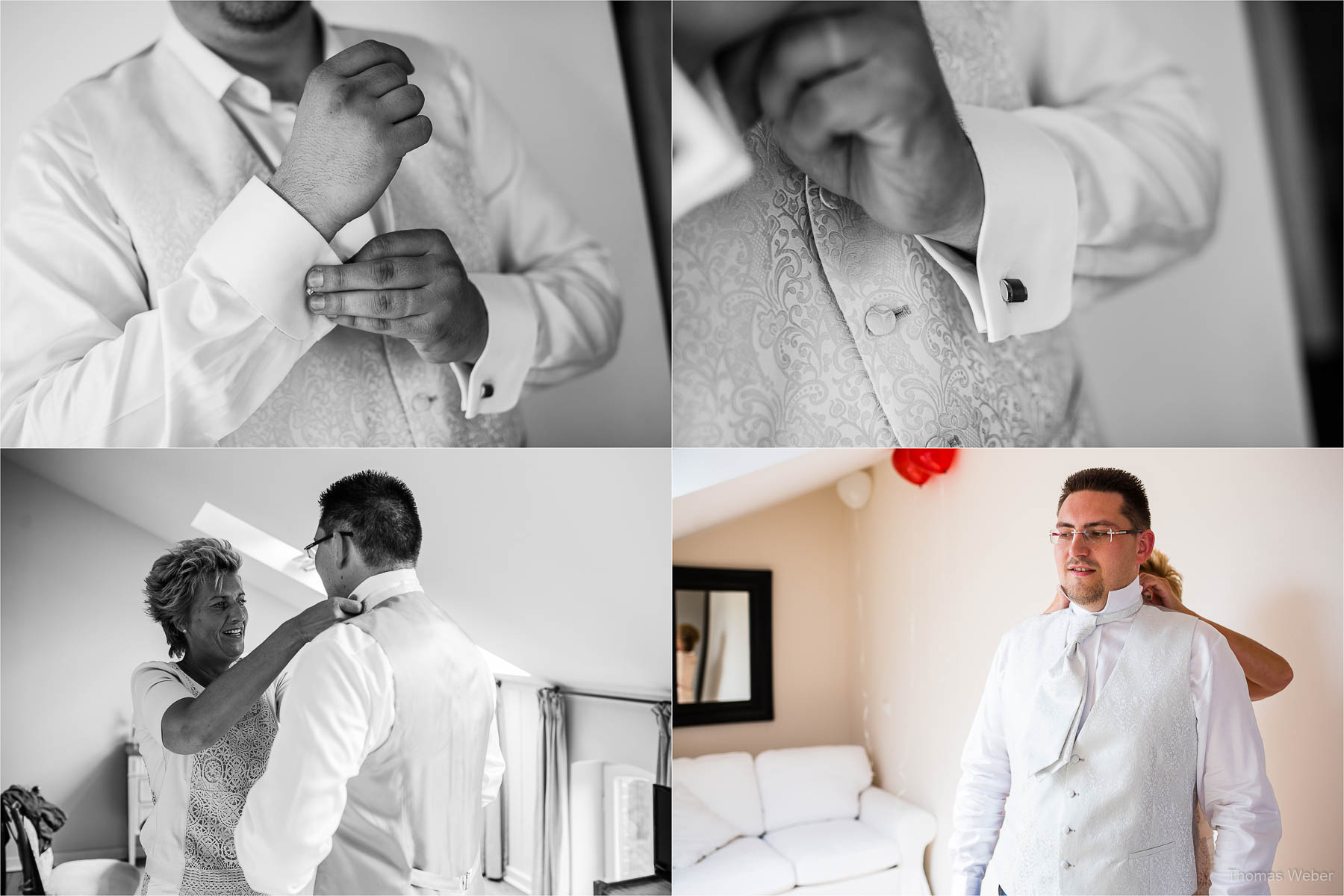 Hochzeitsfotograf bei einer Hochzeit auf Schloss Gamehl an der Ostsee: Die Ankleide des Bräutigams