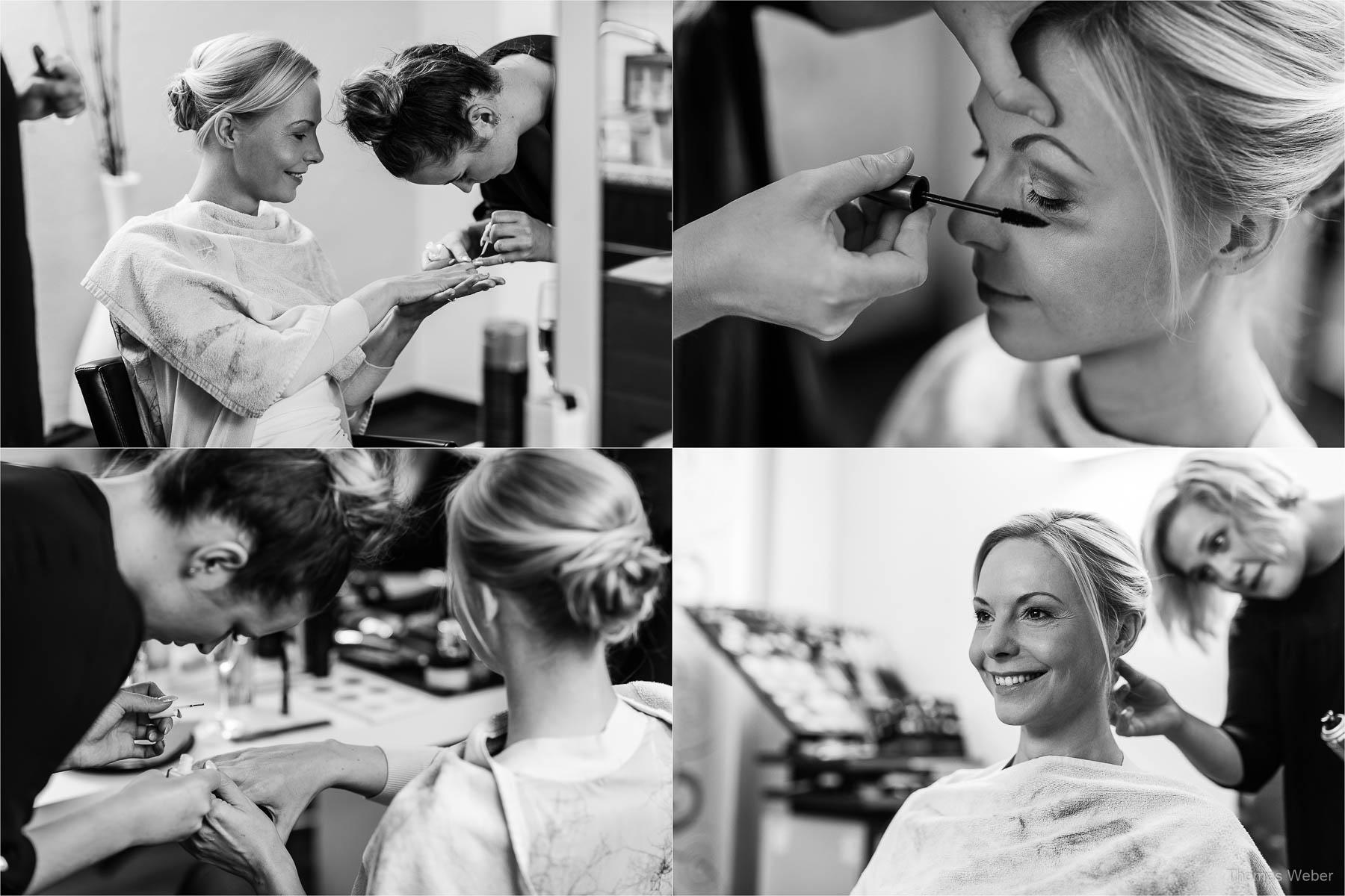 Hairstyling und Makeup der Braut für die Hochzeit im Standesamt am Pferdemarkt in Oldenburg, Hochzeitsfotograf Oldenburg Thomas Weber