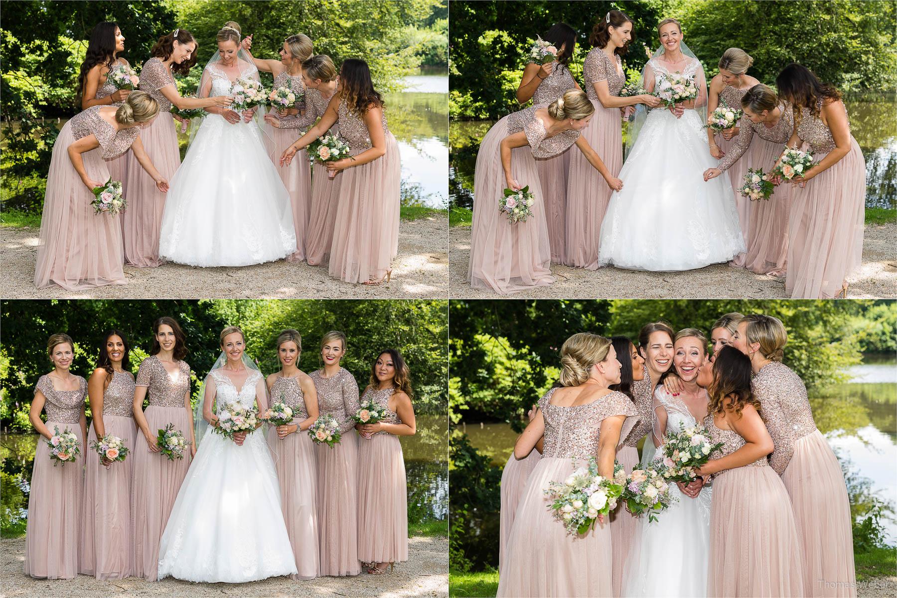Fotos mit den Trauzeugen und Freunden, Kirchliche Hochzeit in Rastede und Hochzeitsfeier in der Scheune St. Georg Rastede, Hochzeitsfotograf Thomas Weber aus Oldenburg